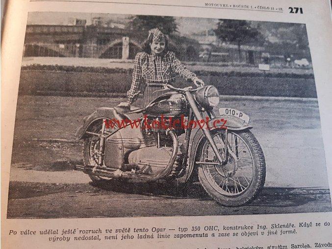 ČASOPIS MOTOCYKL 1949 1. ROČNÍK  TOP STAV - OGAR - RIKŠA