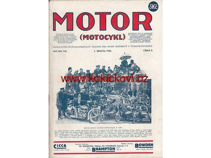 ČASOPIS MOTOR Č.5/1928 KOMPLETNÍ CENA A STAV VIZ POPIS