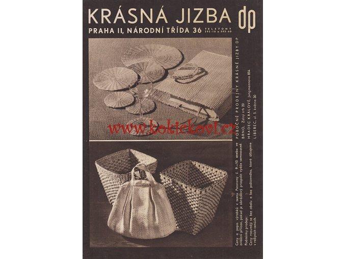 Katalog užitého umění KRÁSNÁ JIZBA DRUŽSTEVNÍ PRÁCE ŽIDLE - 8 STRAN A4 - SUTNAR - SMRČKOVÁ - KYBALA