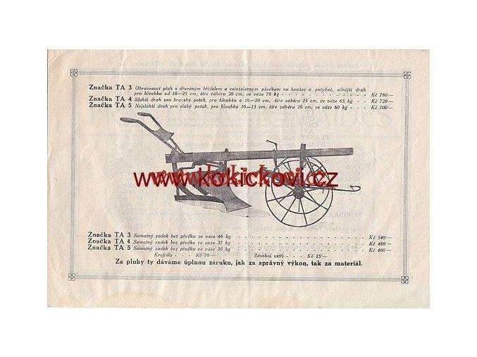 FR. TOMAIDES TOVÁRNA HOSP. STROJŮ PROSPEKT PLUHY