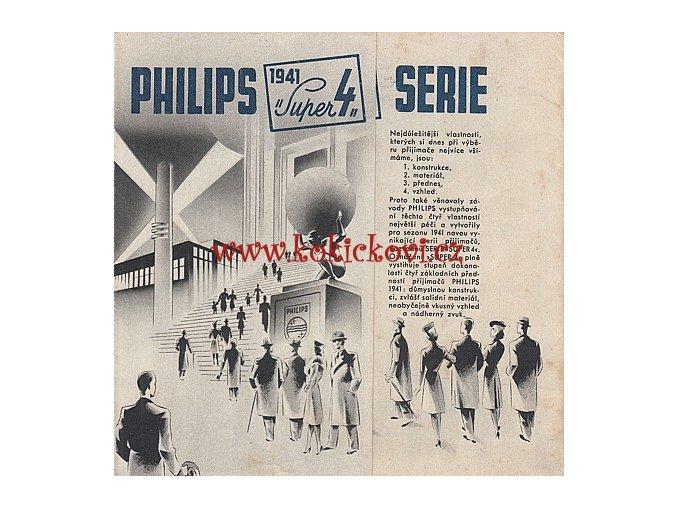 ROZKLÁDACÍ REKLAMNÍ PROSPEKT RADIO PHILIPS 1941 SUPER 4 SÉRIE