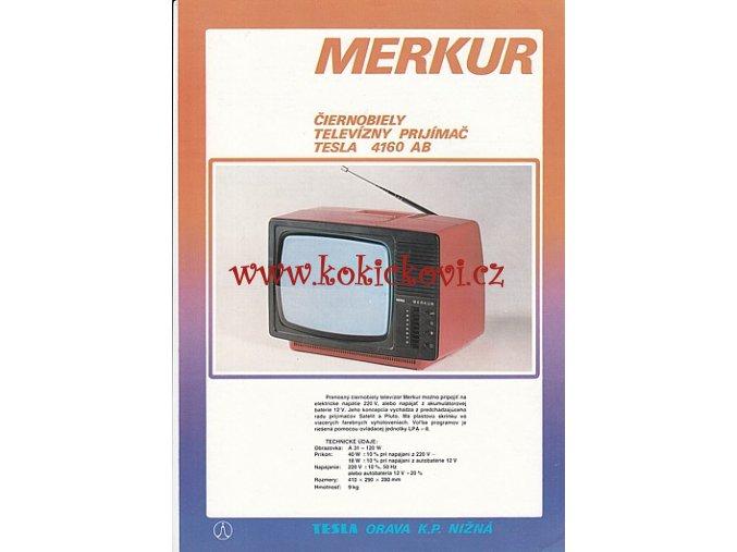 TELEVIZNÍ PŘIJÍMAČ TESLA 4160 AB MERKUR - REKLAMNÍ PROSPEKT A4 - TEXT 4 JAZYČNÝ