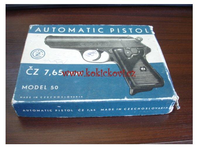 Pistole ČZ vz. 50 7,65 mm Br. - původní prázdná krabička na pistoli - doplněk k vaší zbrani