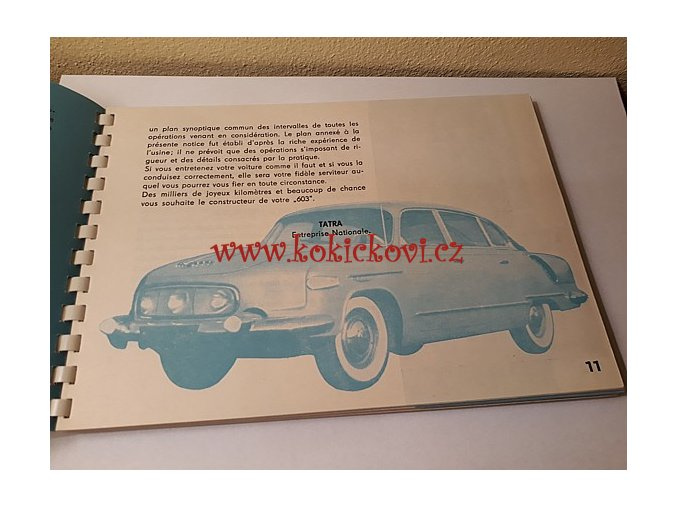 Tatra 603 Manuel conducteur de la voiture - 1960 FRENCH EDITION ULTRA RARE