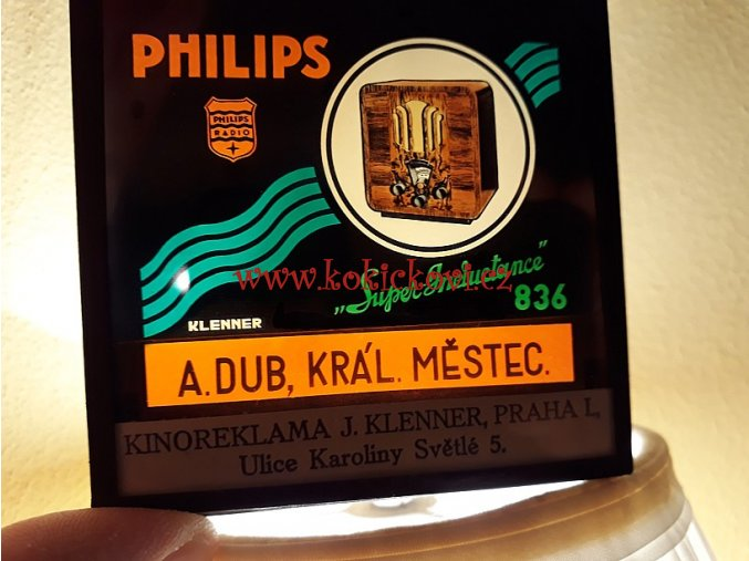 SKLENĚNÁ REKLAMA - DIAPOZITIV - DO KINA Philips Super inductance 836 A RADIO 1934/35