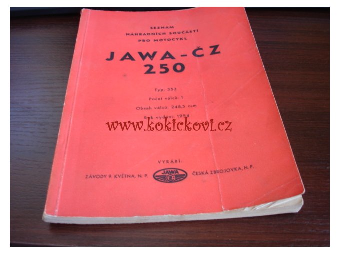 JAWA - ČZ 250 typ 353 - 1954 - seznam náhradních součástí