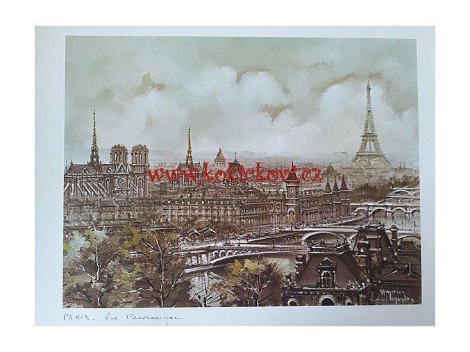 PAŘÍŽ - CELKOVÝ POHLED - UMĚLECKÝ TISK - VHODNÉ K DEKORACI 45*35 CM