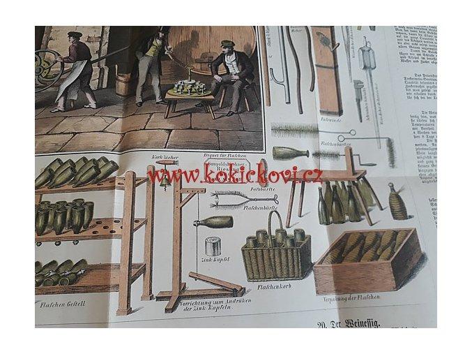 ROZKLÁDACÍ BAREVNÁ TABULE VINAŘSTVÍ - SKLEPNICTVÍ - WIEN 1863 - FREIH. A.v. BABO LANDWIRTHSCHAFLICHE TAFELN