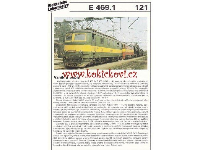 ELEKTRICKÁ LOKOMOTIVA - E 469.1 - REKLAMNÍ PROSPEKT - A4 - 2 STRANY