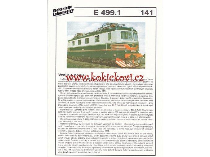 ELEKTRICKÁ LOKOMOTIVA - E 499.1 - REKLAMNÍ PROSPEKT - A4 - 2 STRANY