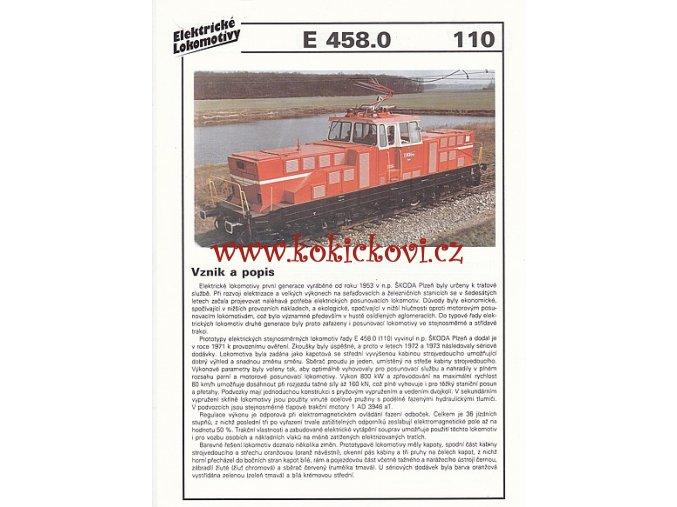 ELEKTRICKÁ LOKOMOTIVA - S 458.0 - REKLAMNÍ PROSPEKT - A4 - 2 STRANY