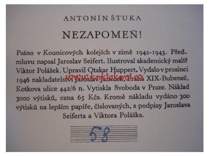 Nezapomeň - 1946 - ČÍSLOVANÝ VÝTISK S PODPISY JAROSLAV SEIFERT A VIKTOR POLÁŠEK