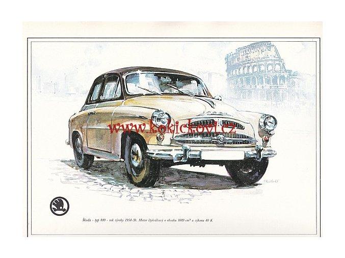 ŠKODA 440 - REKLAMNÍ KRESBA REPRODUKCE - VLADIMÍR BIDLO - 1969