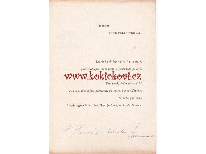 Zikmund M. a Hanzelka J. Pozdrav k Novému roku 1961. Podpis obou cestovatelů Hanzelka a Zikmund 1961