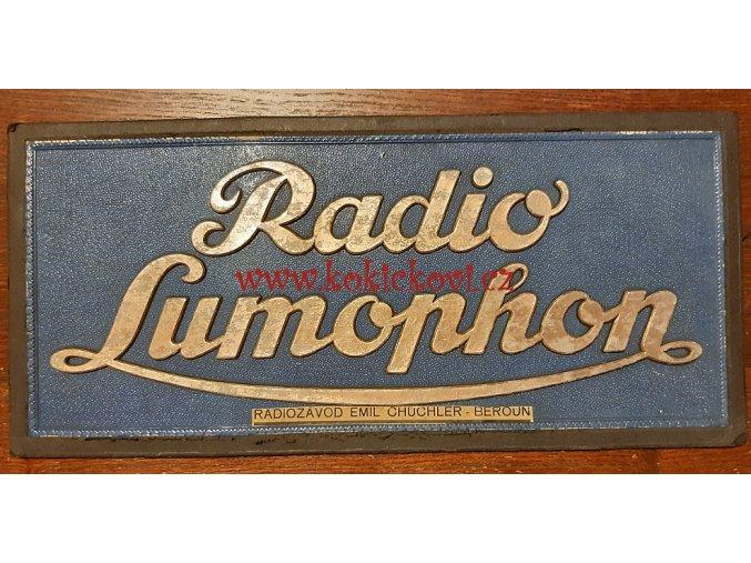RADIO LUMOPHON - radiozávod Emil Chuchler - Beroun - reklamní cedule z 30. let