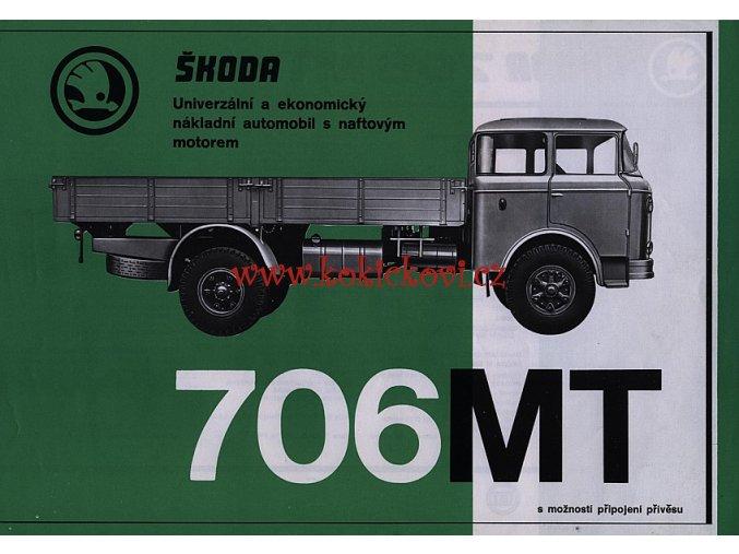 ŠKODA 706 MT nákladní automobil - reklamní leták - 1 list A4 - texty česky