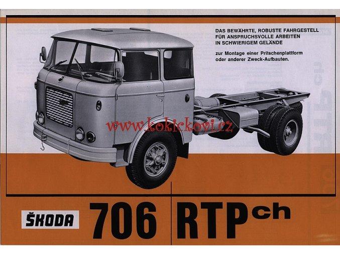 ŠKODA 706 RTP ch - reklamní leták - 1 list A4 - texty německy