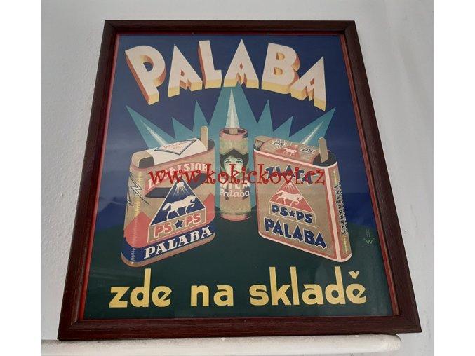 REKLAMNÍ TABULE - BATERIE PALABA - 193? - KARTON 22*25 CM ZARÁMOVÁNO