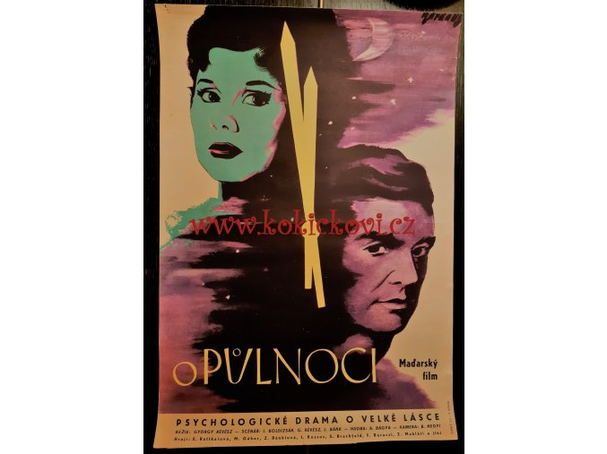 FILMOVÝ PLAKÁT O PŮLNOCI 1958 FRANTIŠEK KARDAUS FORMÁT A3 MAĎARSKÝ FILM