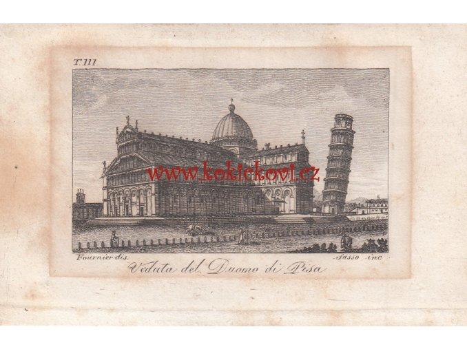 Katedrála Nanebevzetí Panny Marie - rytina - cca 1818 - View of the Cathedral of Pisa cca 1818 - size: 14*9 cm