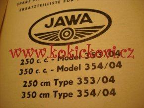 JAWA 250 353/04 A JAWA 350 354/04 - KATALOG DÍLŮ (NĚMECKY A ANGLICKY) 1961