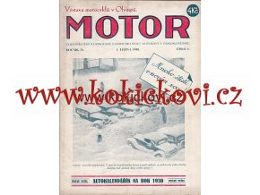 ČASOPIS MOTOR Č.1/1930 KOMPLETNÍ - PĚKNÝ STAV