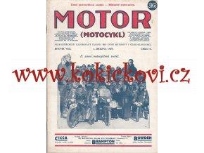 ČASOPIS MOTOR Č.5/1929 KOMPLETNÍ CENA A STAV VIZ POPIS