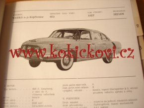 KATALOG ČS. VOZIDEL 1956 TATRA 603 JAWA 500 ŠKODA 1201  KAČENA