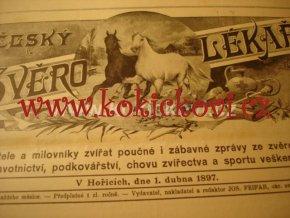 ČASOPIS Č.ZVĚROL. ROČNÍK 1897 KONĚ PSI MYSLIVOST