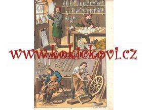 Litografie řemesla sklenář kolář hrnčíř cca 1880