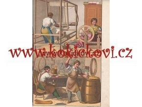 Litografie řemesla bednář sedlář tkadlec cca 1880