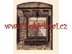 POHLED Z VALDICKÉ BRÁNY V JIČÍNĚ KAREL VIK BAREVNÝ DŘEVORYT 1954