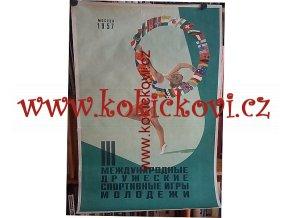 REKLAMNÍ PLAKÁT 1957 MOSKVA MEZINÁRODNÍ HRY MLÁDEŽE 86*57CM ION DUMITRANA
