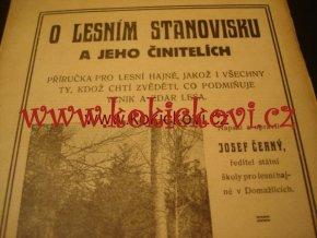 O LESNÍM STANOVISKU A JEHO ČINITELÍCH 1924 JOSEF ČERNÝ