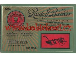 REKLAMNÍ KATALOG Z ROKU 1914 NA PLUHY A ORNÉ NÁŘADÍ 76 S. - RUDOLF BACHER