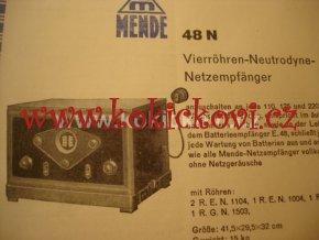 RADIO MENDE PROSPEKT TYPY 38 - 52 MAGNAPHON 10 ROK 1929