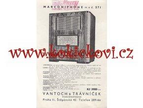 ANGLICKÝ RADIOPŘIJÍMAČ MARCONIPHONE MOD. 571