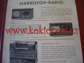 RADIO MARKOFON SÉRIE 1937-38 PROSPEKT A4 IA STAV
