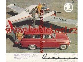 ŠKODA OCTAVIA BAREVNÝ PROSPEKT 1963 SKLÁDAČKA 4 STRANY HOLANDSKY