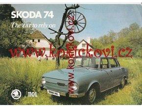 ŠKODA 100 L REKLAMNÍ PROSPEKT 1A4 OBOUSTRANNĚ ANGLICKY 1974