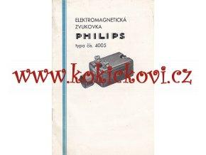 ELEKTROMAGNETICKÁ ZVUKOVKA PHILIPS 1933 REKLAMNÍ PROSPEKT