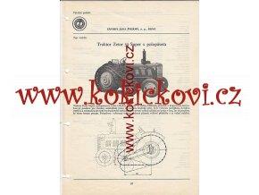 TRAKTOR ZETOR 50 SUPER S POLOPÁSEM - KATALOGOVÝ LIST A4