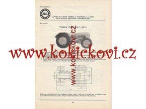 TRAKTOR ZETOR 3011-3012 REKLAMNÍ KATALOGOVÝ LIST A4 TECHNICKÁ DATA