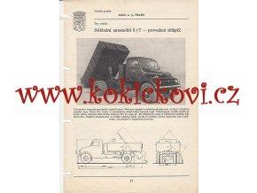 NÁKLADNÍ AUTOMOBIL PRAGA S 5 T SKLÁPĚČ  - KATALOGOVÝ LIST ZE 60. LET