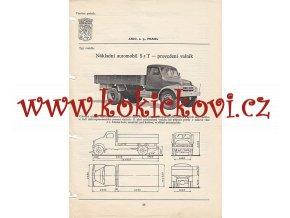 NÁKLADNÍ AUTOMOBIL PRAGA S5T - KATALOGOVÝ LIST ZE 60. LET