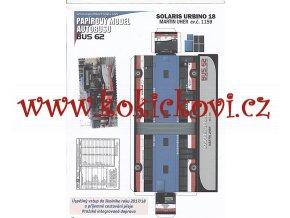 PAPÍROVÝ MODEL AUTOBUS BUS 62 SOLARIS URBINO 18 - 1 LIST A4