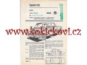 ŠKODA 100 - ŠKODA 110 R - 4 STR. A4 TYPOVÝ LIST