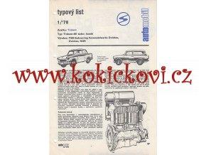 TRABANT 601 KAROSERIE TUDOR - 4 STR. A4 TYPOVÝ LIST