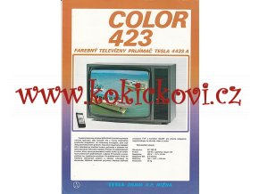 TELEVIZNÍ PŘIJÍMAČ TESLA COLOR 423 - REKLAMNÍ PROSPEKT A4 - TEXT 4 JAZYČNÝ