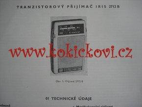 TESLA 2712 B IRIS NÁVOD K ÚDRŽBĚ - A4 - 1967 - 18 STRAN